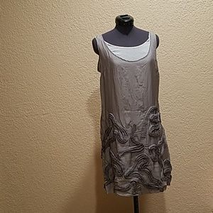 100% silk dress by Robert Rodriguez in gray